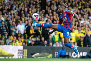 Wilfried Zaha of Crystal Palace controls the ball during the match between Crystal Palace and Norwich City at Selhurst Park. The home side won 2-0 but Zaha didn't get on the scoresheet himself.
