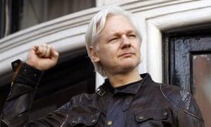 Julian Assange outside the Ecuadorian embassy in London in 2017.
