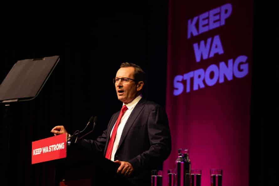 Western Australian Premier Mark McGowan speaks during the launch of the Labour Party campaign at RAC Arena in Perth.