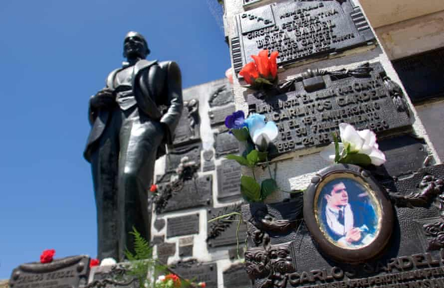 The tomb of the French-Argentine singer Carlos Gardel, at Chacarita cemetery