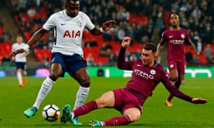 Manchester City's Aymeric Laporte tackles his French compatriot Moussa Sissoko – Laporte is City's record signing.