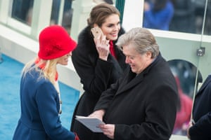 With Stephen Bannon, and Kellyanne Conway after Trump was sworn in as the 45th President of the United States, January 20, 2017