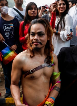 Indian members and supporters of the lesbian, gay, bisexual, transgender (LGBT) community take part in a pride parade in New Delhi