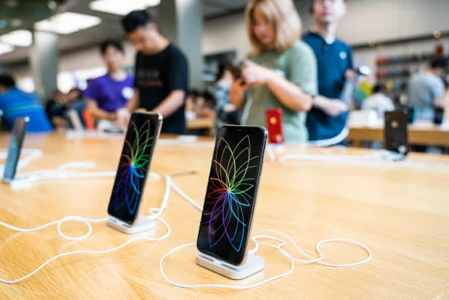iphones on display at an apple store in shanghai summer 2019