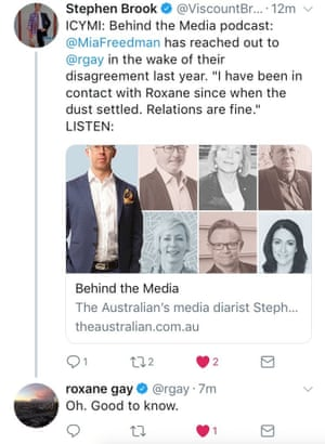 Screenshot of Roxane Gay's reply to the Australian's former media editor Stephen Brook's tweet about Mia Freedman on his podcast Behind the Media.