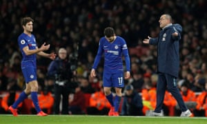 Maurizio Sarri vents his frustration as Marcos Alonso (left)and Mateo Kovacic look on.