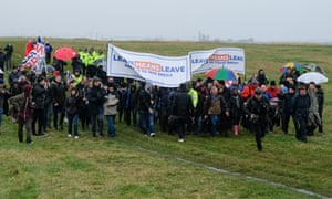 The March To Leave setting off from the coast near Sunderland today.