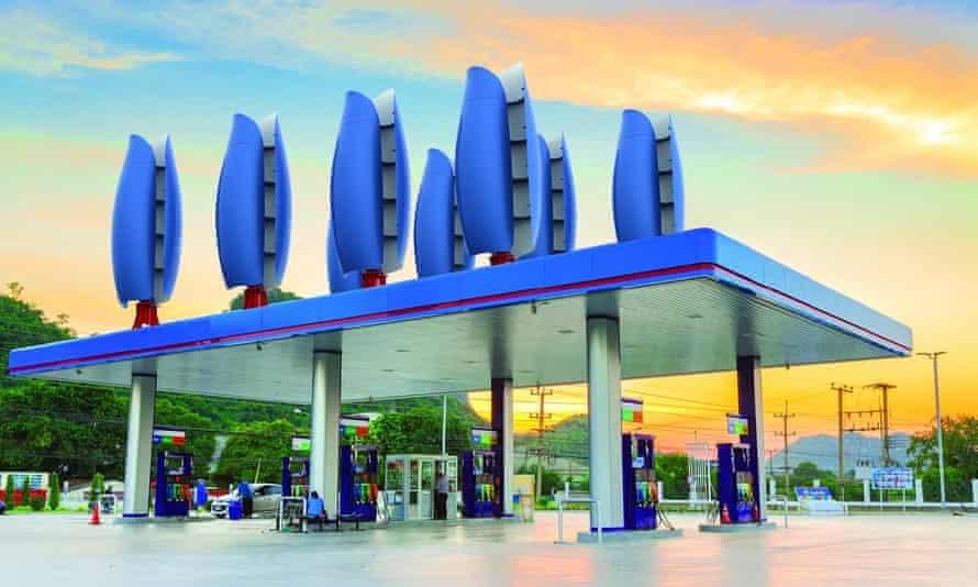Eight Flower Turbines on a petrol station roof.