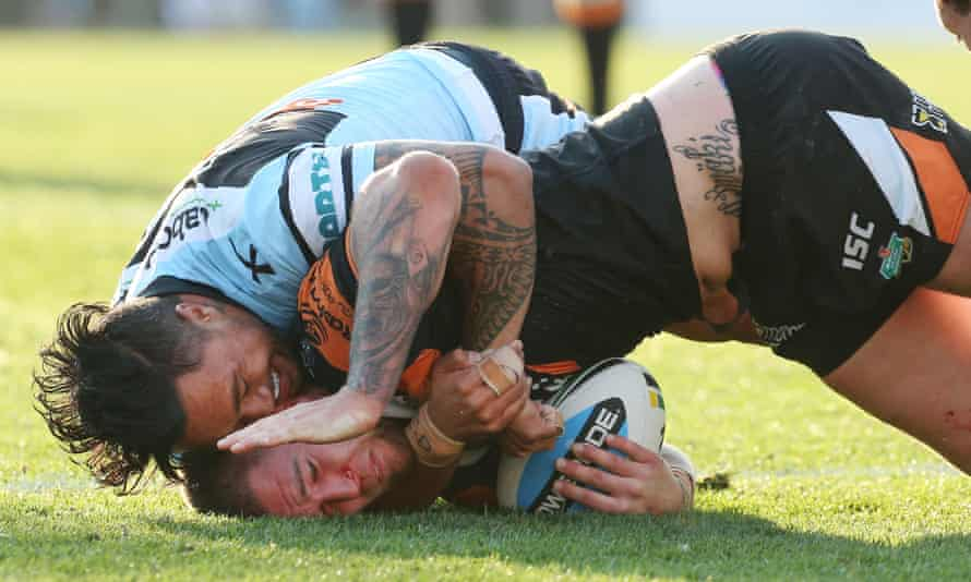 Tinirau Arona tackles Curtis Sironen during the match between the Cronulla Sharks and the Wests Tigers at Remondis Stadium on Saturday.
