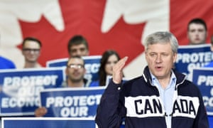 Stephen Harper speaks at a rally during a campaign stop.