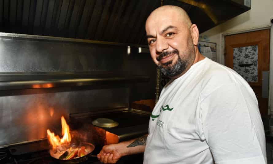Kamel Jamal in the kitchen of his Palestinian restaurant Ziatün in Beacon, New York.