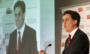 Britain's opposition Labour Party leader Ed Miliband speaks at the Scottish Trade Union Congress in Ayr, Scotland.