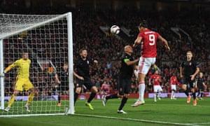 Zlatan Ibrahimovic heads United into the lead.