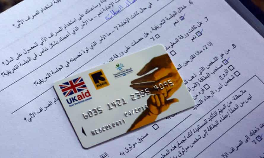 The International Rescue Committee provides cash assistance to Syrian refugees in Lebanon through the use of an ATM bank card like this one