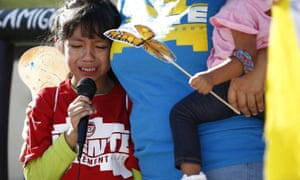 Akemi Vargas, eight, cries as she talks about being separated from her father during an immigration family separation protest in Arizona last year.