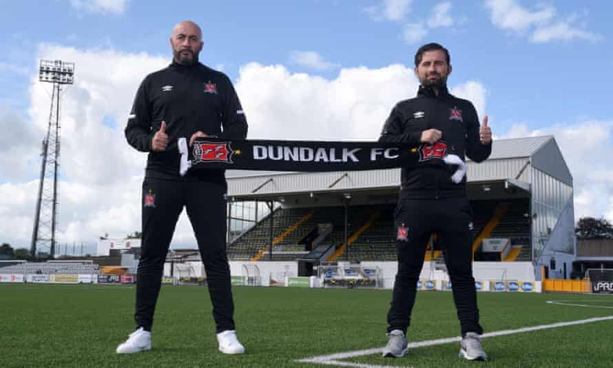 Filippo Giovagnoli and his Giuseppe Rossi pose in August after being appointed by Dundalk.