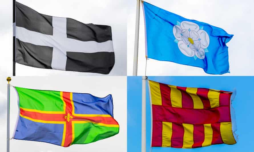 The county flags of Cornwall, Yorkshire, Northumberland and Lincolnshire.