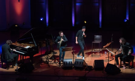 Irrepressibly surreal … from left, Michael Wollny, Emile Parisien, Andreas Schaerer and Vincent Peirani at Cadogan Hall, London.