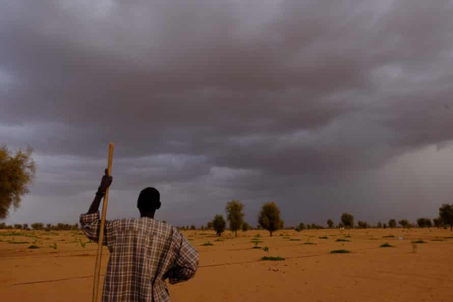 According to villagers, the rains don't come as often as they used to. Here, a resident of Koyli Alfa village watches the sky change before one of the first rains of the season.