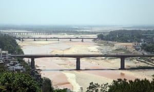 A general view of almost dry river Tawi, in Jammu, the winter capital of Kashmir, India