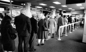 A Post Office queue in 1989.