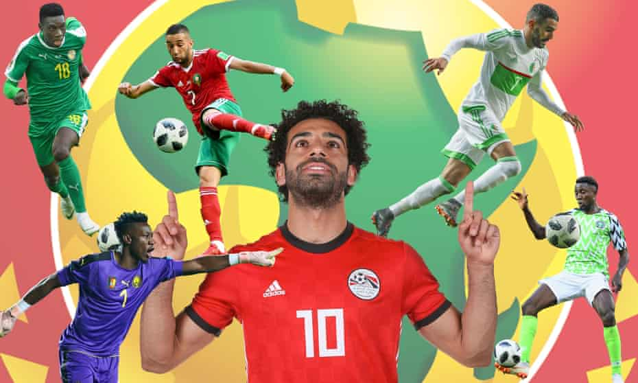 Clockwise from top left: Senegal's Ismaïla Sarr, Hakim Ziyech of Morocco, Algeria's Riyad Mahrez, Wilfred Ndidi of Nigeria, Egypt's Mohamed Salah and Cameroon's goalkeeper André Onana.
