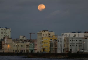 The supermoon rises over Havana, Cuba.