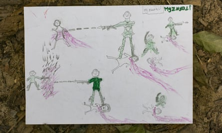 A drawing by Manzur Ali, an 11-year-old now in Bangladesh, shows the Myanmar military attacking and abusing Rohingya people, scenes he says he witnessed while fleeing his village