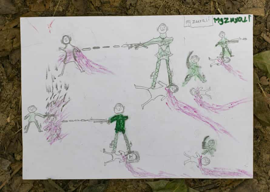 Manzur Ali, 11, has illustrated a scene he witnessed while shopping at a market days before fleeing to Bangladesh. It shows the Myanmar military stamping on people's throats – including a relative and neighbours of his – and setting people on fire