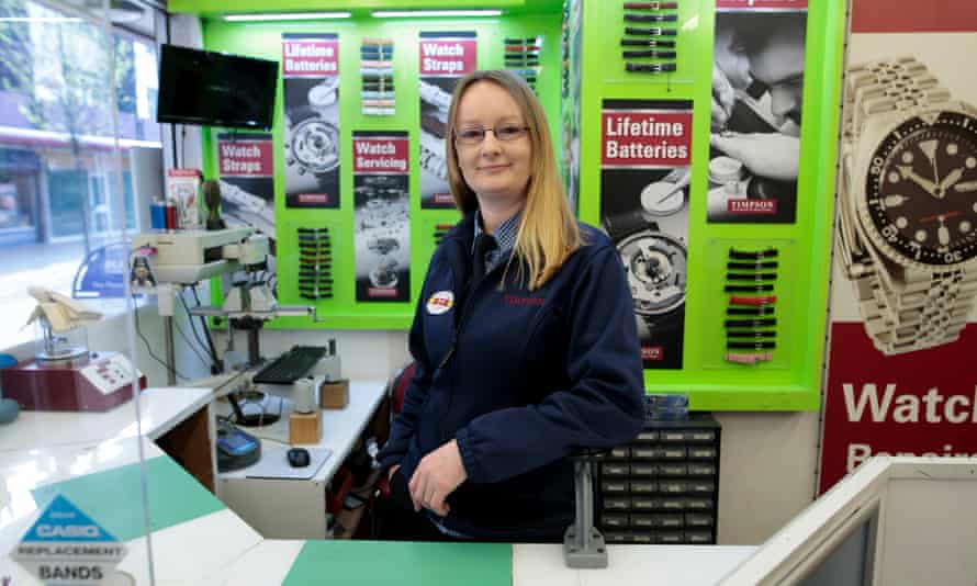 Sarah Barker at work for Timpsons in Manchester.