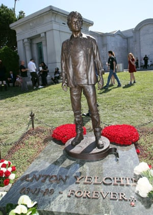 A bronze of the late actor Anton Yelchin, unveiled in 2017.