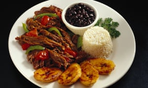 Tuck in, Camilla! Ropa vieja – 'old clothes' – with rice, beans and plantain.