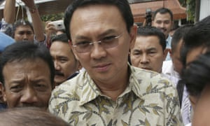 Basuki 'Ahok' Tjahaja Purnama arrives for his blasphemy case.