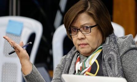 Senator Leila De Lima gestures during a hearing at the Philippine Senate.