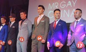 Meng Fanyu (centre), winner of the first ever Mr Gay China, surrounded by his co-finalists.