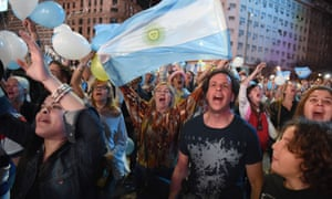 Supporters of Mauricio Macri celebrate in Buenos Aires on Sunday.