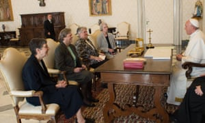 Pope Francis, right, talks with a delegation of The Leadership Conference of Women Religious last year at the Vatican.