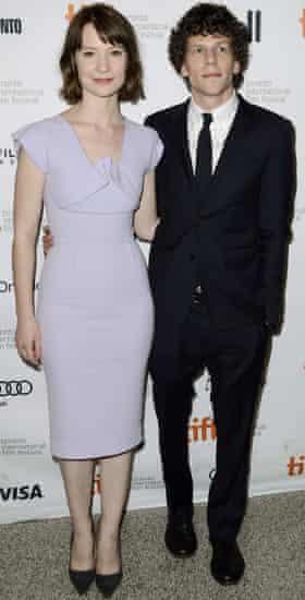 Actors Mia Wasikowska and Jesse Eisenberg