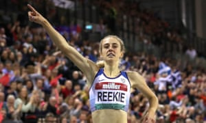 Jemma Reekie celebrates victory in the women's 1500m final at the Indoor Grand Prix World Athletics Tour event last weekend.
