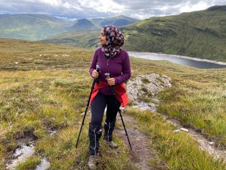 Zahrah Mahmood, the 'Hillwalking Hijabi' climbing Meall Buidhe, Scotland.