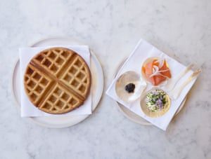 Waffle, salmon and caviar at Darby's Restaurant, Vauxhall, London.