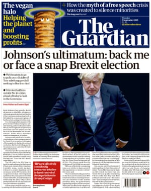 Guardian front page, Tuesday 3 September 2019