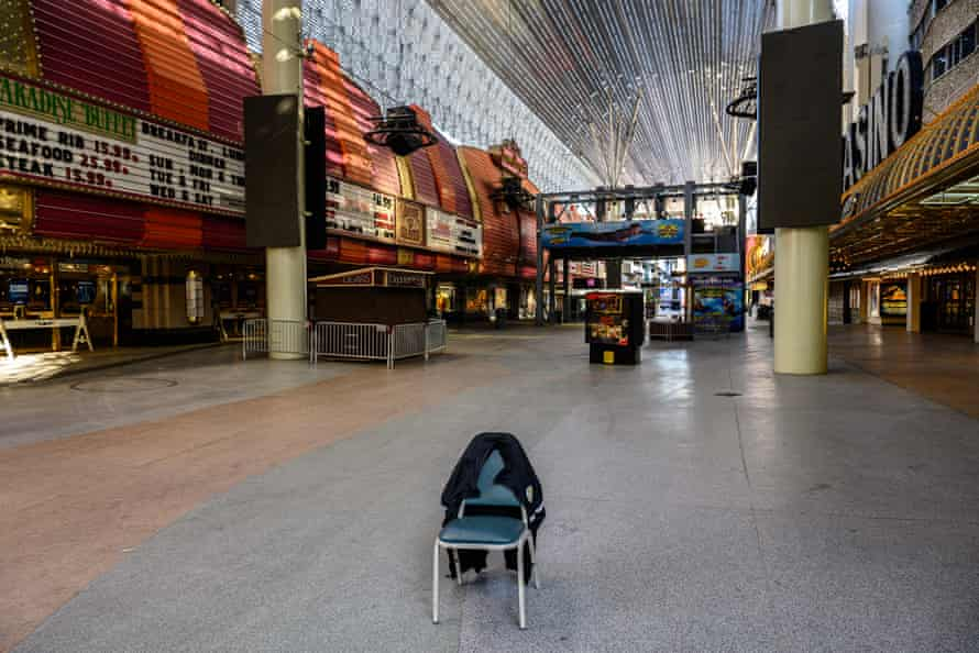 Casinos at the Fremont Street Experience sit empty with all businesses shuttered due to Covid-19 in Las Vegas, NV on March 30th, 2020.