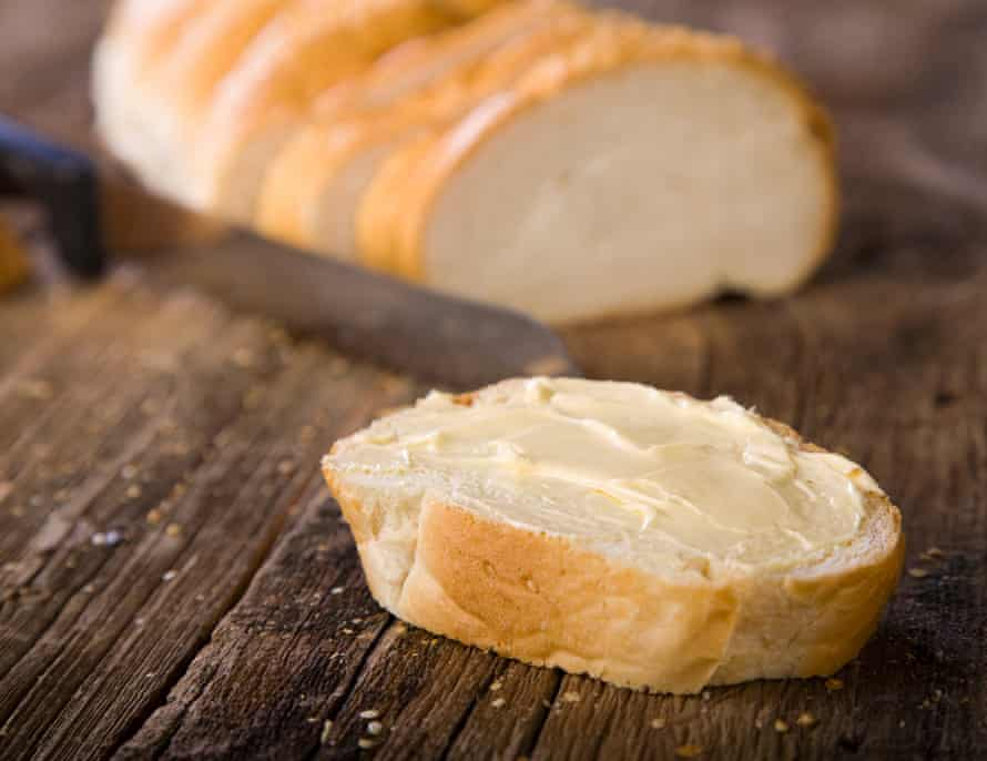White bread with butter