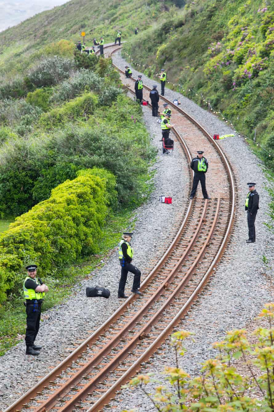 A heavy police presence on the train line into Carbis Bay.
