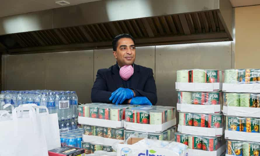 Barrister Ajmal Azam at Slough Islamic Trust where he has stocked donations made by businesses in the area.