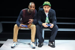 Fiston Barek and Calvin Demba in Routes by Rachel De-lahay at the Royal Court theatre, London, in 2013