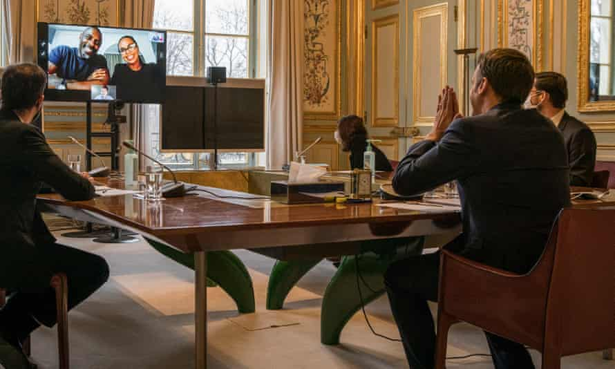 The French president, Emmanuel Macron, takes part in the virtual conference with Idris Elba and Sabrina Dhowre Elba