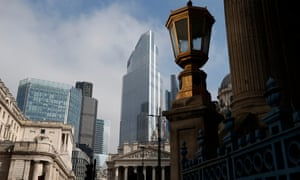 The City of London skyline on March 1, 2021 in London, England.