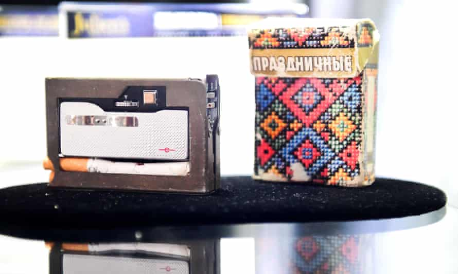 A KGB spy cigarette pack with hidden camera